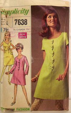 Vintage 60's Sewing Pattern, Misses' Dress, Size 12