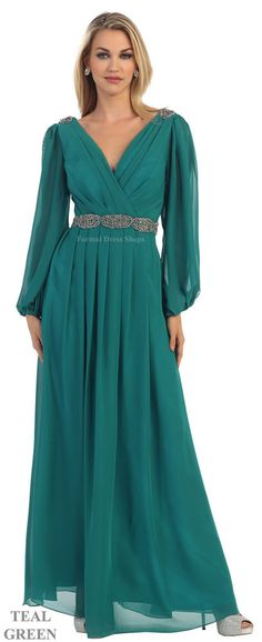 Teal Long Sleeve Chiffon V-Neck Long Dress 2016 Homecoming Dresses Mother Of The Bride Trouser Suits, Mother Of The Bride Jackets, Mother Of The Bride Plus Size, Mother Of The Bride Dresses Long, Plus Size Formal Dresses, Plus Size Gowns, Tea Length Dresses, Formal Evening Dresses, Dresses With Sleeves