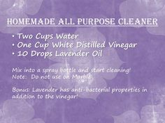 Young Living Essential Oils: Lavender Cleaning with Lavender Essential Oils Cleaning, Essential Oil Uses, Natural Essential Oils, Homemade All Purpose Cleaner, Cleaners Homemade, Young Living Oils, Young Living Essential Oils, Oil Mix, Natural Cleaning Products
