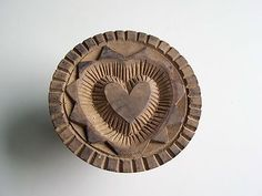 """Antique hand carved """"Heart in Heart"""" Butter Stamp !! Butter Print. Butter Mold"""