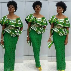 """910 Likes, 29 Comments - Maureen (@stylistabymaureen) on Instagram: """"The land is so #green even my clothes agree. #ankara peplum on straight #lace skirt…"""""""