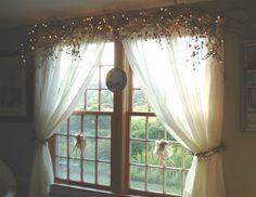 """Karen's Garden Cottage: Quick Fix ~ Quick Post ~ Twig 'N Vine Window Treatment """"How To""""!"""