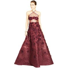 Oscar de la Renta Bead & Sequin Embroidered Lace Halter Gown ($7,000) ❤ liked on Polyvore featuring dresses, gowns, oscar de la renta, red evening dresses, red ball gown, lace gown, red sequin dress and red lace dress