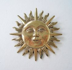 Vintage Early 90s Fantasy Boho Antiqued Goldtone Sun with Face Brooch Pin by ThePaisleyUnicorn, $6.00