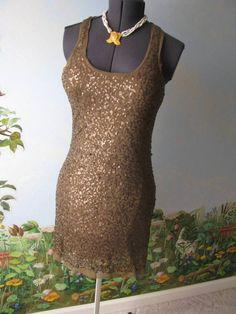 Max Studio Sleeveless Cocktail Brown Sequin Dress SZ L NWT #MaxStudio #AsymmetricalHem #Cocktail