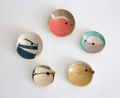 Bird plates, ceramic -would make nice badges