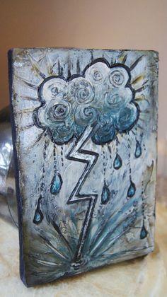 Lightening Strike   Mini Wood Block Painting Thick by solamar7, $42.00