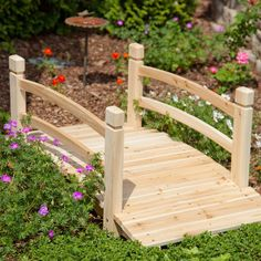 4-Ft Garden Bridge with Railings in Weather Resistant Fir Wood - Quality House
