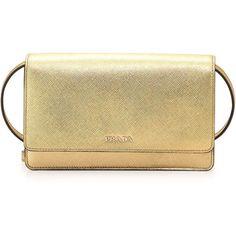 Prada Saffiano Lux Mini Crossbody Bag ($1,130) ❤ liked on Polyvore featuring bags, handbags, shoulder bags, gold, metallic shoulder bag, mini crossbody, crossbody purse, mini handbags and prada handbags