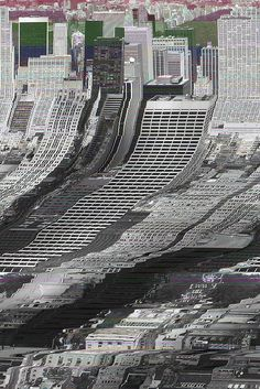 glitch art - the top of this image is ordered as it's the original image and then the lower section is disordered as it's a glitch.