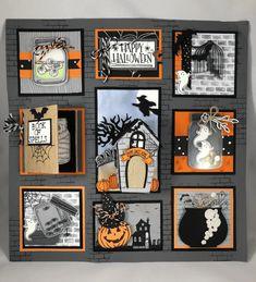Stampin Up Halloween Sampler idea - Jeanie Stark StampinUp - Halloween cards - Halloween Shadow Box, Fröhliches Halloween, Halloween Frames, Halloween Paper Crafts, Halloween Books, Holidays Halloween, Halloween Decorations, Handmade Halloween Cards, Box Frame Art