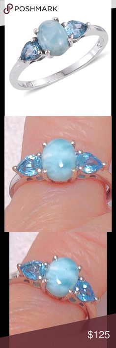 Larimar, Electric Blue Topaz Ring Larimar, Electric Blue Topaz Ring features an oval gem accented with beautiful pear cut Electric Blue Topaz. (Size 7) Ring is done in Platinum Overlay .925 Sterling Silver Nickel Free TGW 4.25 CTs. Larimar is a natural gem found only in the Dominican Republic. It is said to be 5,000 times more rare than a diamond and is fast becoming more difficult to find gem quality gems. Sometimes called The Atlantis Stone. Jewelry Rings
