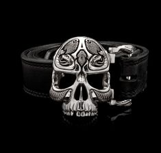 Poison Belt Buckle | 925 Sterling Silver Skull Belt Buckle | NightRider Jewelry