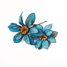 Teal Flower Hair Pins (2) -- Peacock Blue Gold Flower Hair Bobby Pin - Wedding Hair Accessory on Etsy, 6,31€