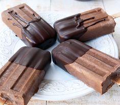 Mexican Chocolate Fudgesicles Diabetic Desserts, Sugar Free Desserts, Frozen Desserts, Low Carb Desserts, Frozen Treats, Healthier Desserts, Diabetic Recipes, Mexican Chocolate, Sugar Free Chocolate