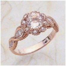 Vintage Rose Gold Engagement Ring Center Is A Round Morganite anillos de… Vintage Gold Engagement Rings, Wedding Rings Rose Gold, Wedding Rings Vintage, Rose Gold Engagement Ring, Wedding Jewelry, Halo Engagement, Bridal Rings, Vintage Bridal, Rose Wedding