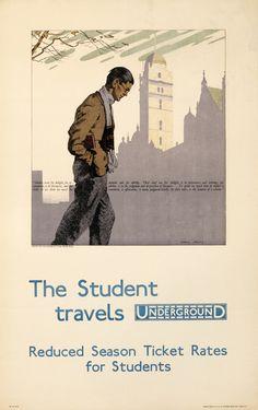The Student Travels Underground - London Underground, 1930, Charles Pears