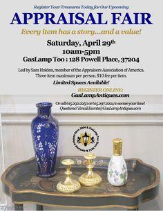 Get the scoop on your treasures! APPRAISAL FAIR, Saturday, Apr 29th! $10 per item w 3 item max. Must pre-register! http://www.gaslampantiques.com/news_detail.php?article=117
