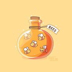 Bottle of Bees Cute Food Drawings, Cute Animal Drawings Kawaii, Cute Little Drawings, Arte Do Kawaii, Kawaii Art, Kawaii Doodles, Cute Food Art, Cute Art, Minecraft Wallpaper