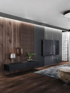 This accent lighting helps establish the wall as a focal point. It may help with practical things but it is mainly to draw attention to the wall. Modern Tv Room, Modern Bedroom Design, Home Interior Design, Interior Architecture, Living Room Tv Unit Designs, Living Room Decor Inspiration, Wall Decor Design, Elegant Living Room, Modern Living