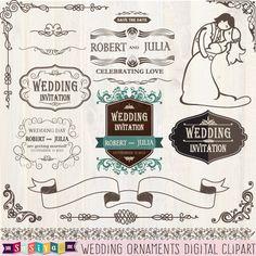 Buy 1 Get 1 Free New Retro Bride & Groom Wedding Digital Clipart Decorations Design Elements Invitation Card WS446 INSTANT DOWNLOAD by SasiyaDesigns on Etsy