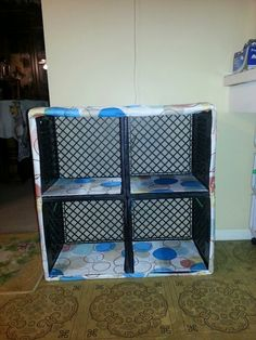 I took 4 milk crates, zip tied them together. Measured out the shape onto a shower curtain, and hammered it on. The shelves are just extra fabric hot glued onto some cardboard. Going to use it as a pantry for school lunch snacks :-) Milk Crate Shelves, Milk Crate Storage, Milk Crates, Diy Storage, Organizar Closet, Diy Crafts Tools, Pallet Crates, Plastic Crates, Crate Cover