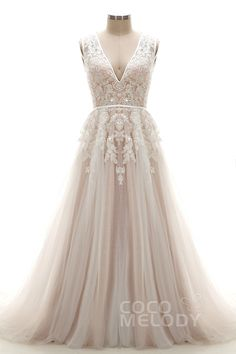 Latest A-Line V-Neck Natural Chapel Train Tulle and Lace Ivory/Champagne Sleeveless Open Back Wedding Dress with Appliques and Beading LD3932 #weddingdresses #cocomelody