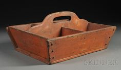 Salmon-painted Divided Wooden Carrier, America, 19th century, rectangular carrier with chamfered sides, pierced handhold on central divider, with five compartments, (minor edge losses and paint wear), ht. 8, wd. 15 5/8, lg. 19 1/4 in.     Provenance: Purchased from Paul and Margaret Weld.