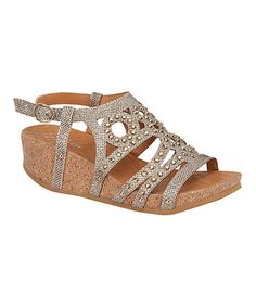 Love this Champagne Studded Rene Wedge by Step Up Shoes on #zulily! #zulilyfinds