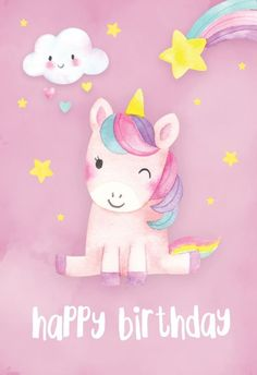'Happy Unicorn' - Birthday card template you can print or send online as eCard for free. Personalize with your own message, photos and stickers. Unicorn Birthday Cards, Happy Birthday Wishes Cards, Happy Birthday Kids, Birthday Wishes Quotes, Happy Birthday Images, Birthday Pictures, Diy Birthday, Happy Birthday Wallpaper, Birthday Ideas