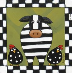 """Funny Farm """" Whimsical Cow & Chickens Country Animals Painting by Annie Lane"""