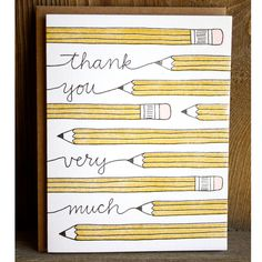 Thank You Pencil Letterpress Card. - Would be great for end of school year gifts for the kids' teachers!