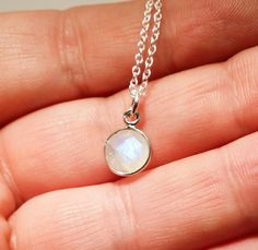 Rainbow Moonstone necklace subtle flashes of color, moon light necklace. -genuine rainbow moonstone faceted stone in sterling silver bezel