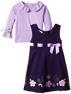 Blueberi Boulevard Little Girls' Flower Cord Jumper, Purple, 2T Blueberi…