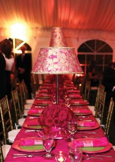 Pink and gold lampshade centerpieces with roses
