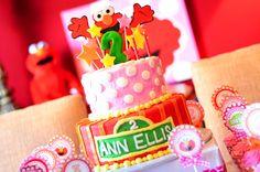 Sydney, Sesame Street, Party Ideas, Decorations, Birthday, Cake, Polka Dots, Elmo
