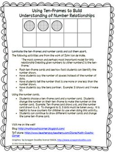 Math Coach's Corner: Using Ten-Frames to Build Number Relationships