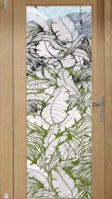 Tropical Leaves Sliding Glass Door And Sidelight Window Film