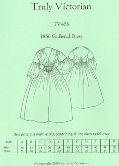 TV456 - Truly Victorian #456, 1856 Gathered Dress Sewing Pattern