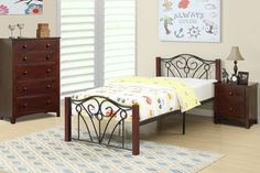 """Twin Bed F9005T $88  Descriptions :  A youthful presence with a modern twisted is defined with this metal and wood bedframe in a twin or full size.  Product Dimensions :  Twin Bed: HB 34""""H, FB 13""""H"""