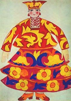 """Russian woman's costume from Le coq d' or"" 1914 by Natalia Goncharova via wikipaintings.org"