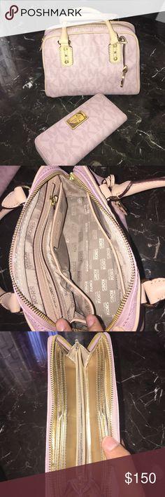 Pink Michael Kors handbag and wallet Pink and gold... Worn only once!!! Michael Kors Bags Mini Bags