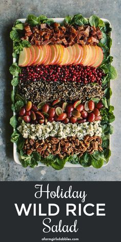 This Holiday Wild Rice Salad is a beautiful deconstructed salad paired with an easy-to-make maple Dijon dressing. It's hearty and nourishing. You're going to want this salad all winter long! Thanksgiving Recipes, Fall Recipes, Holiday Recipes, Christmas Recipes, Wild Rice Recipes, Pork Recipes, Recipies, Wild Rice Salad, Best Salad Recipes