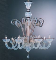 Murano glass chandelier - The opaline look Sean wants for over the kitchen island.