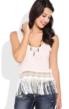 Deb Shops Crop Tank Top with Fringe Bottom $14.17