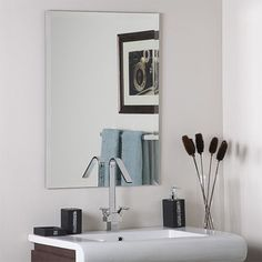 Photographic Gallery Frameless Rectangular High Wide Beveled Mirror Bathroom mirrors Bath and Master bathrooms
