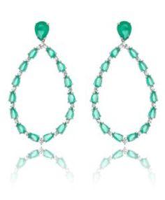 brinco de luxo esmeralda com zirconias cristais e banho de rodio semi joias modernas