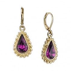 2028 Gold-Tone Amethyst Color Crystal Swarovski Elements Earrings