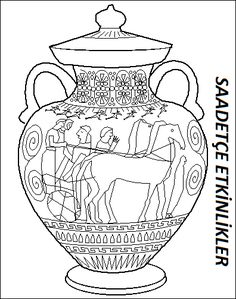 Ancient Greece coloring pages, coloring pages of Ancient Greece , printable Ancient Greece coloring sheets Ancient Greek Art, Egyptian Art, Ancient Greece, Greek History, Ancient History, Art History, Greece Art, Old Vases, Antique Vases
