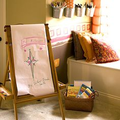 Make a creative corner for kids if you can spare the space. Their imaginations will thank you!